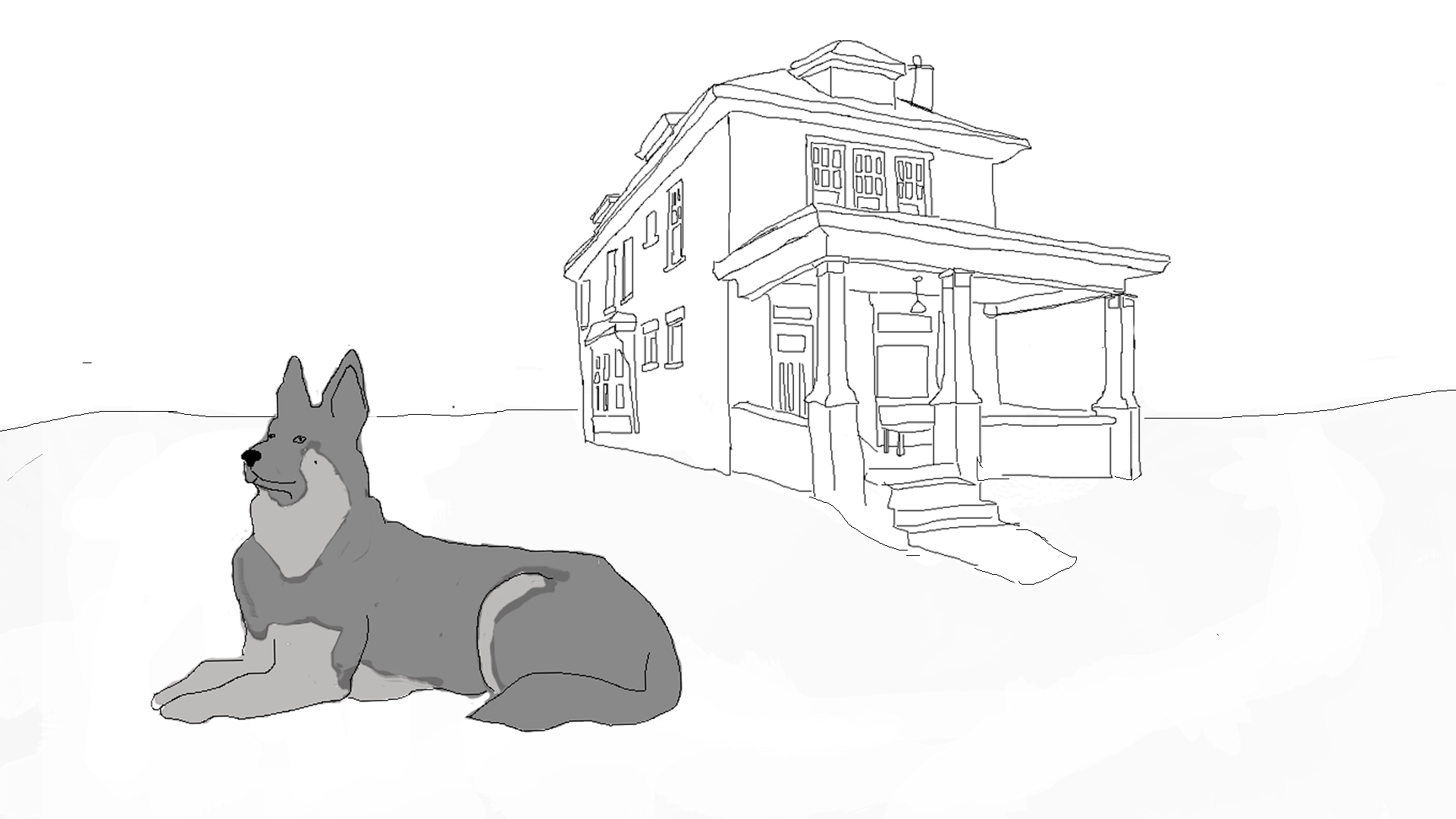 "German Shepherd outside of house in ""Foxes I've Seen by Now"" written by Jen Hirt and illustrated by Tina Mitchell."