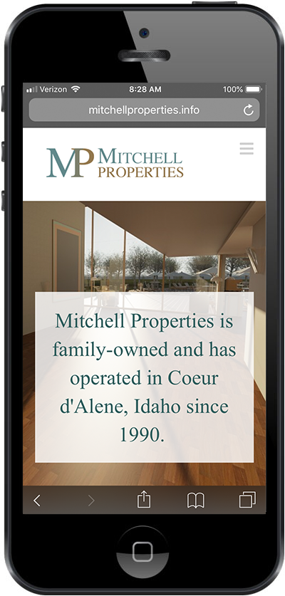 Cellphone showing Mitchell Properties about page.