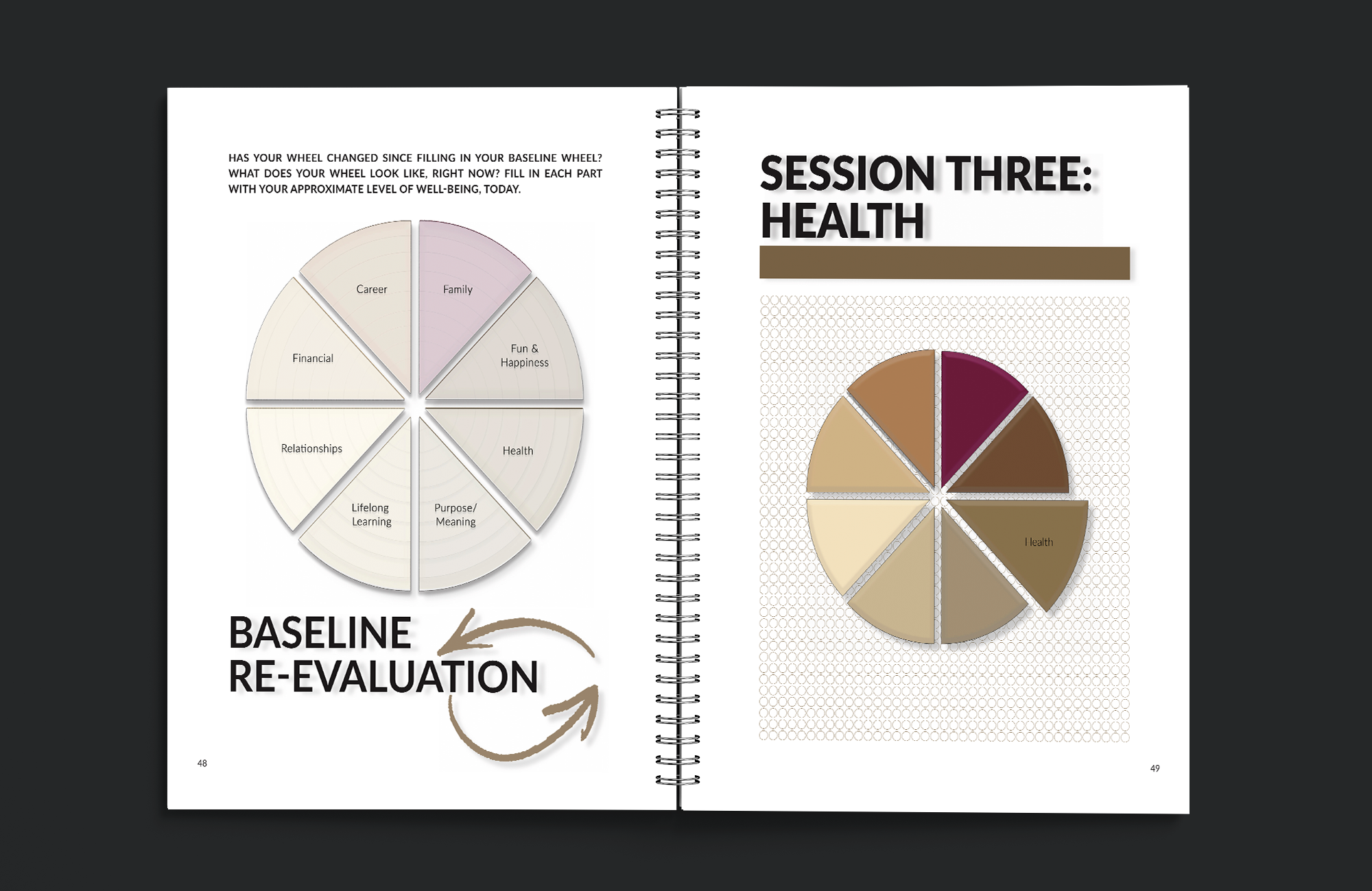 Interior pages of Figuring it Out: Balancing Your Wheel of Life. Pages include the Baseline Re-evaluation page and Session Three: Health page.