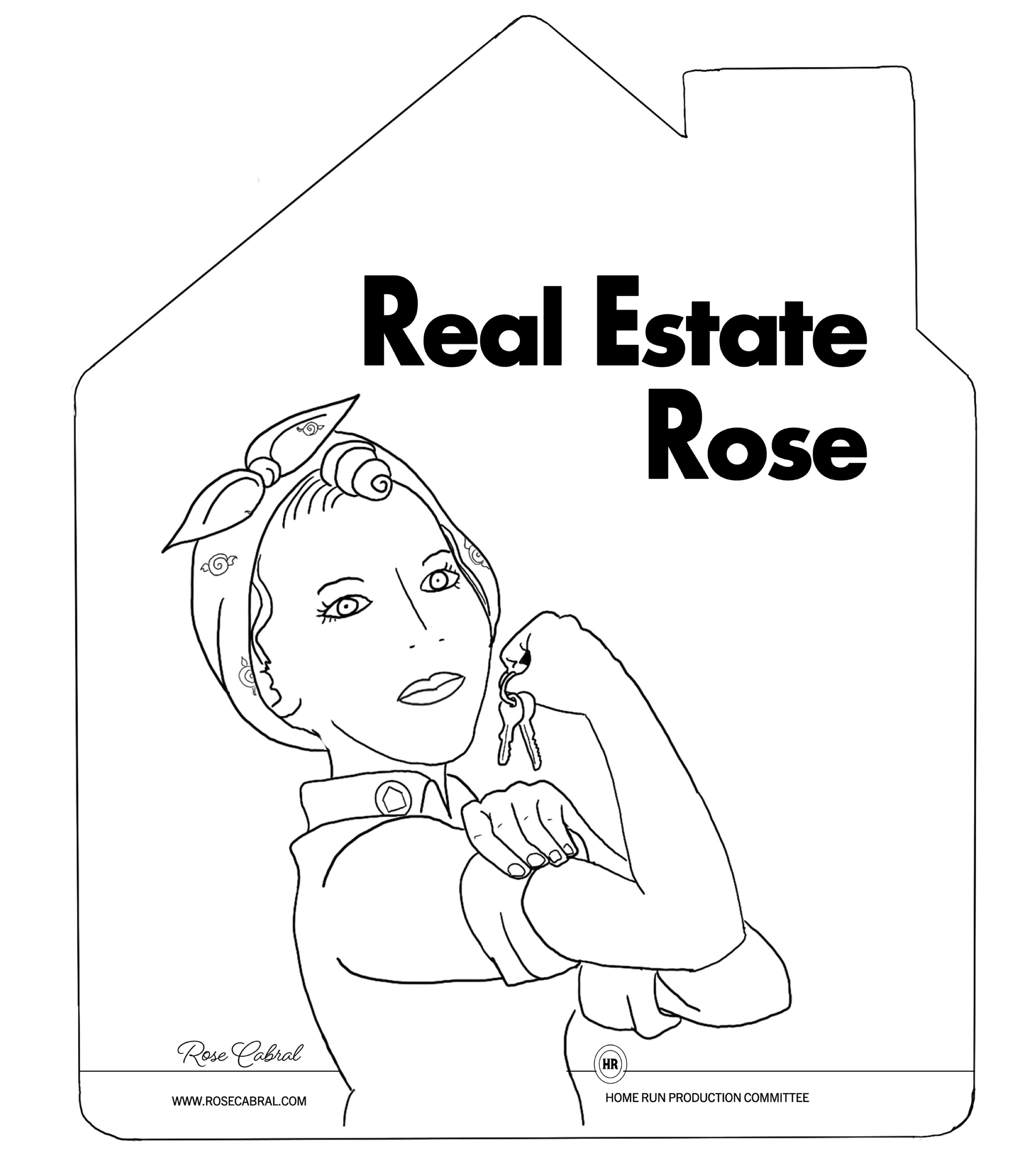 Real Estate Rose black and white illustration