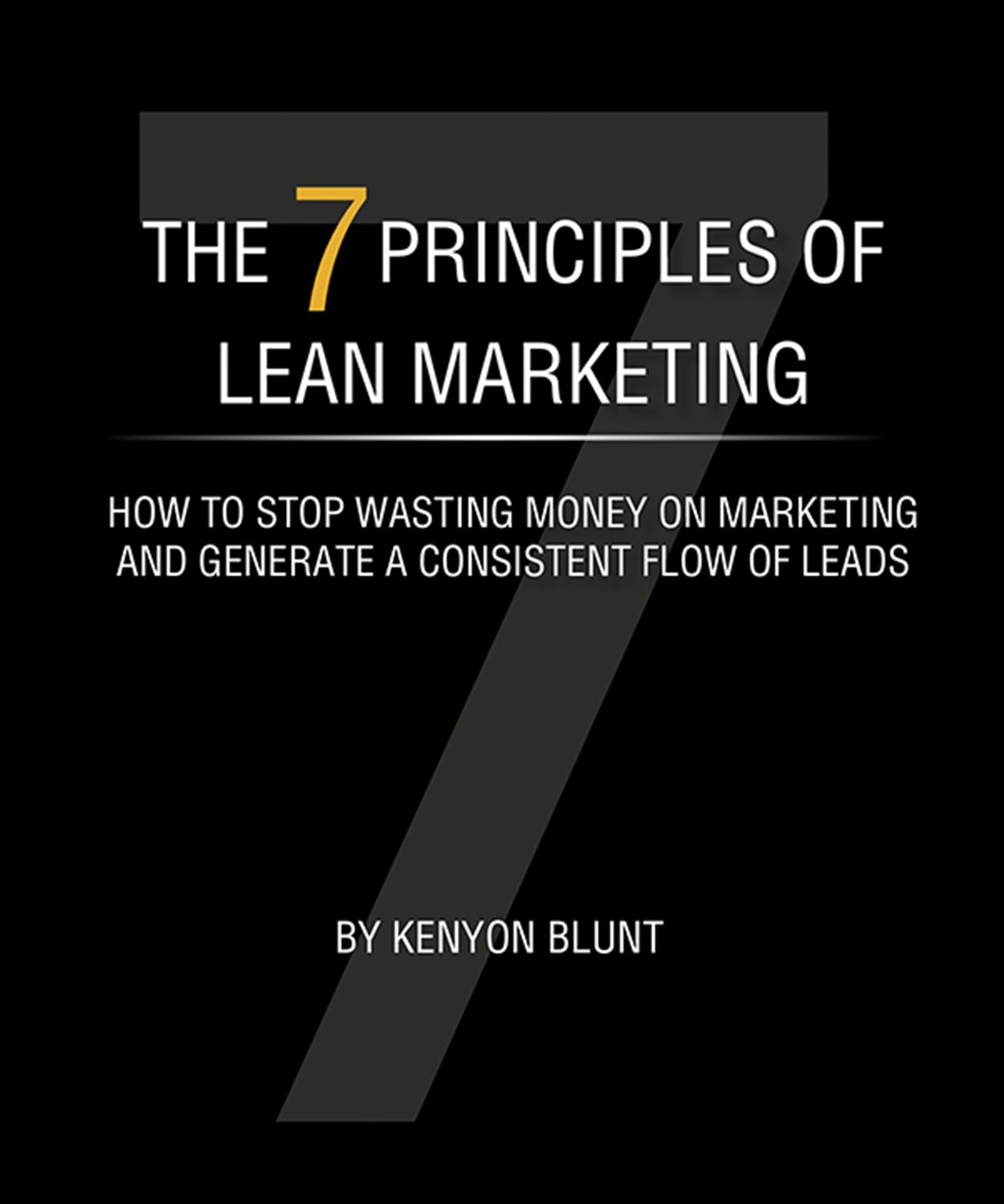 Book cover of The 7 Principles of Lean Marketing: How to Stop Wasting Money on Marketing and Generate a Consistent Flow of Leads by Kenyon Blunt.