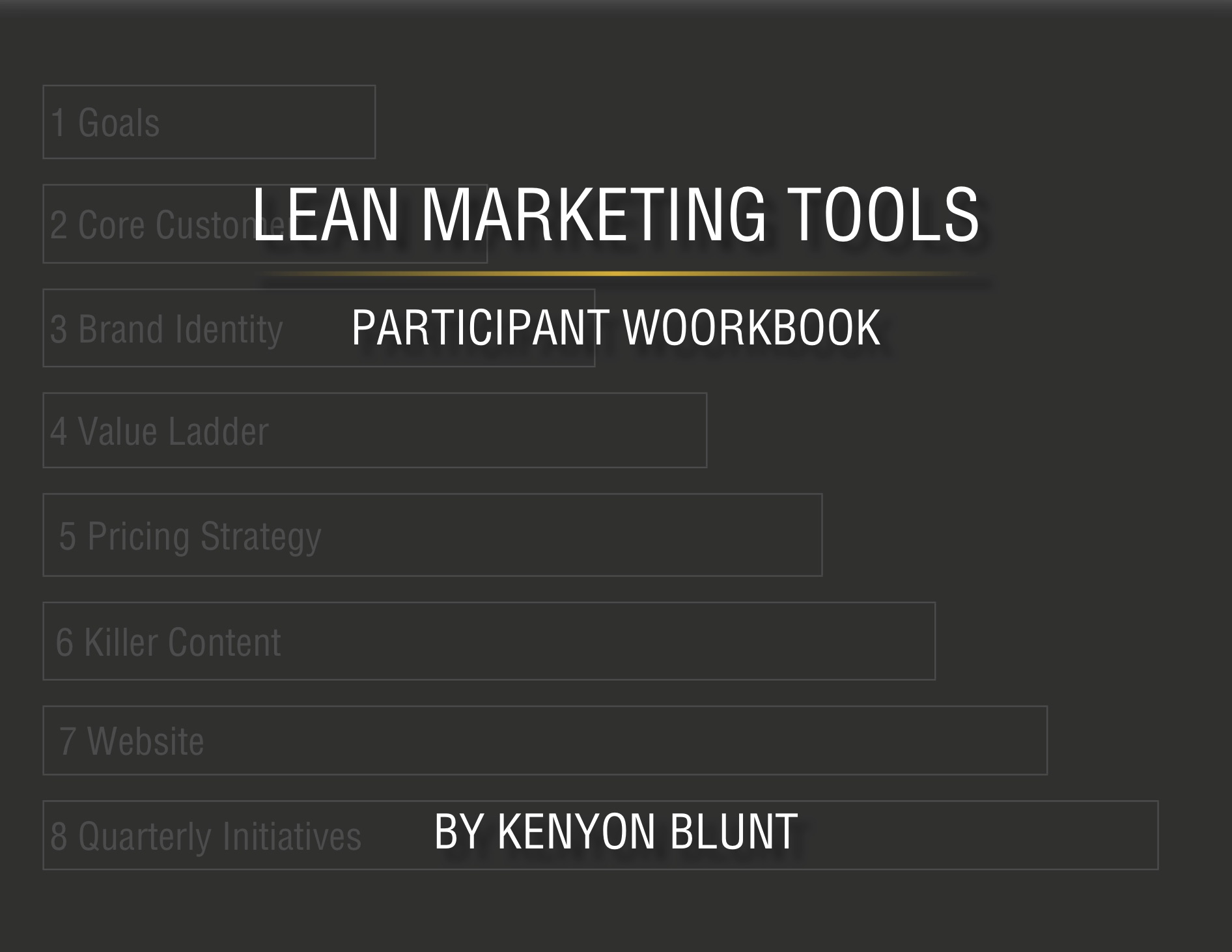 The book cover of The Lean Marketing Tools Participant Workbook by Kenyon Blunt.