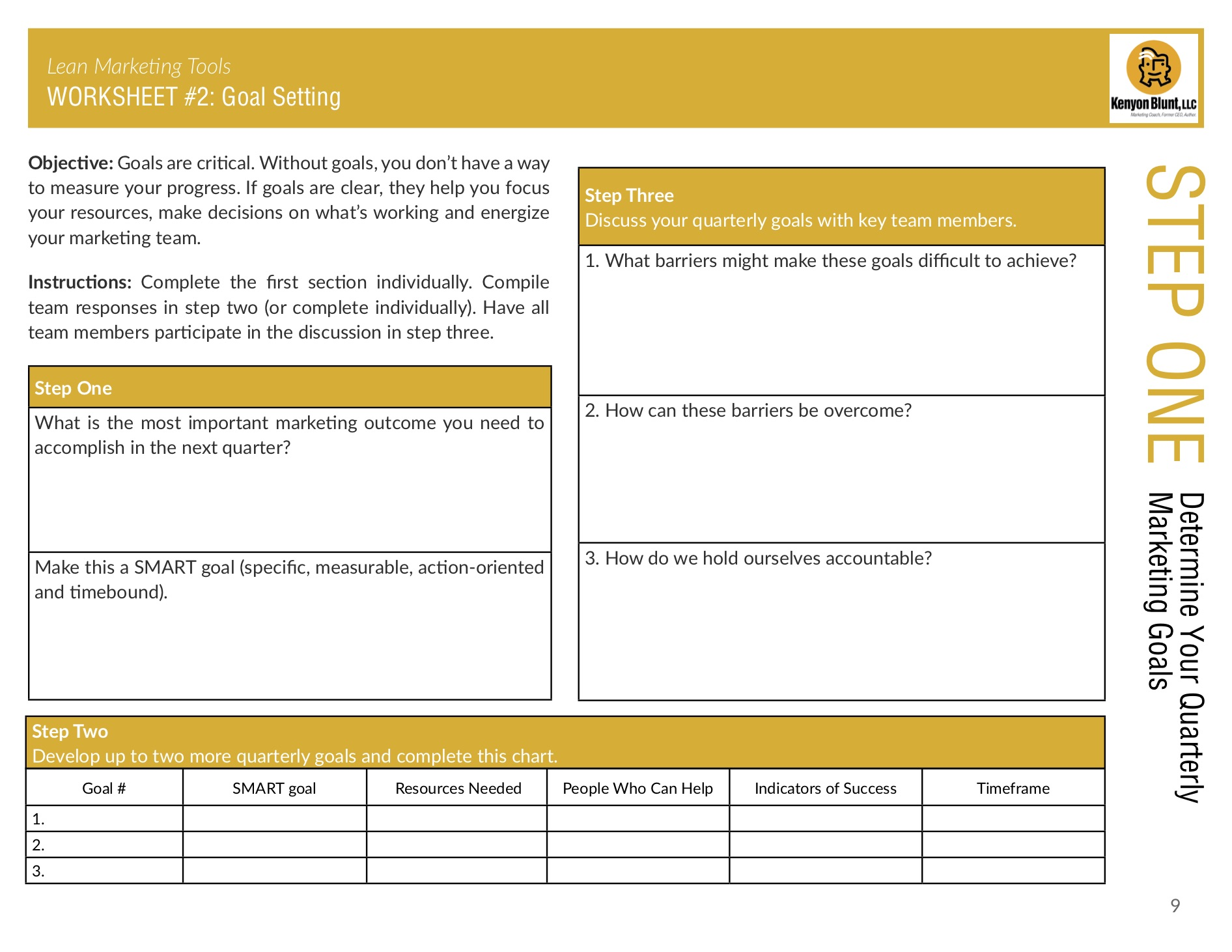 Example of a worksheet in The Lean Marketing Tools Participant Workbook by Kenyon Blunt.